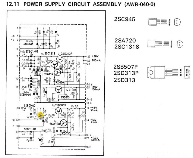 Pioneer SQ 747 Schematic Detail Power Supply Circuit