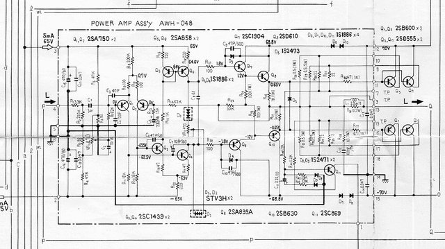 Pioneer SX 1250 Schematic Detail Power Amp