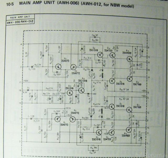 Pioneer SX-525 Schematic Power Amp Detail