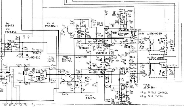 Pioneer SX 680 SX 690 Schematic Detail Power Amp Section With Volume And Balance Section