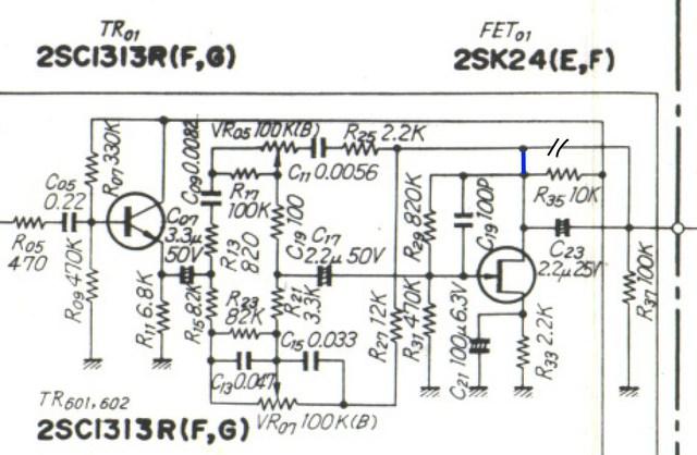 Sansui 771 schematic detail tone amp with noise problem and factory modification