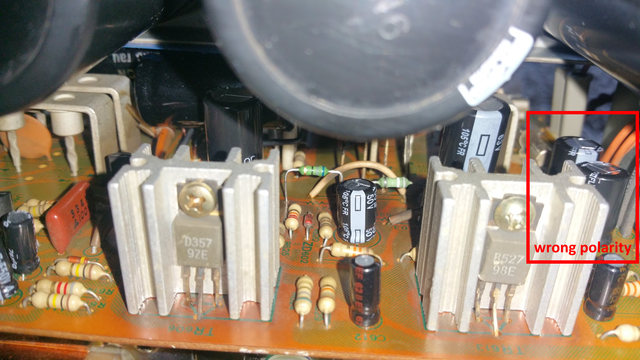 Sansui A 719 Voltage Regulator Wrong Polarity Capacitor After Repair