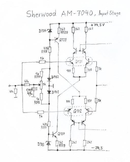 Sherwood AM-7040 schematic detail input stage