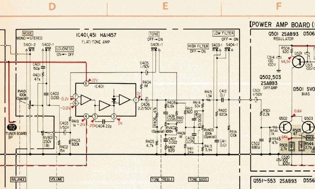 Sony STR V7 Schematic Detail PreAmp And Filter Section