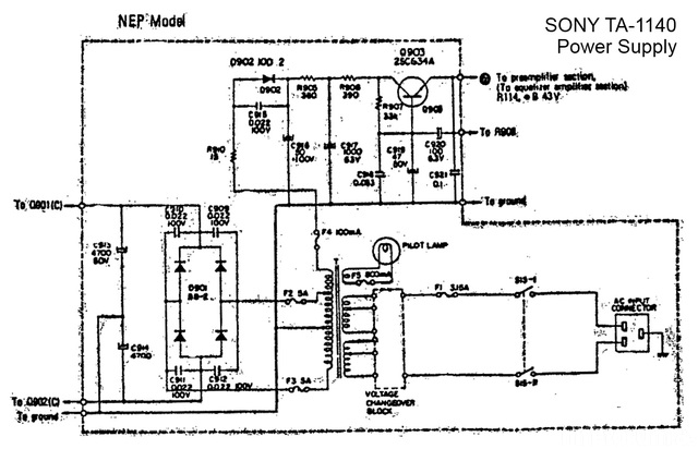 Sony TA 1140 Schematic Detail Power Supply