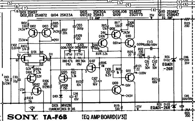 Sony TA-F6B schematic detail discrete phono equalizer amp