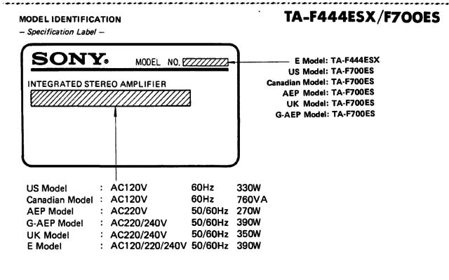 Sony TA-F700ES Model Indentifikation
