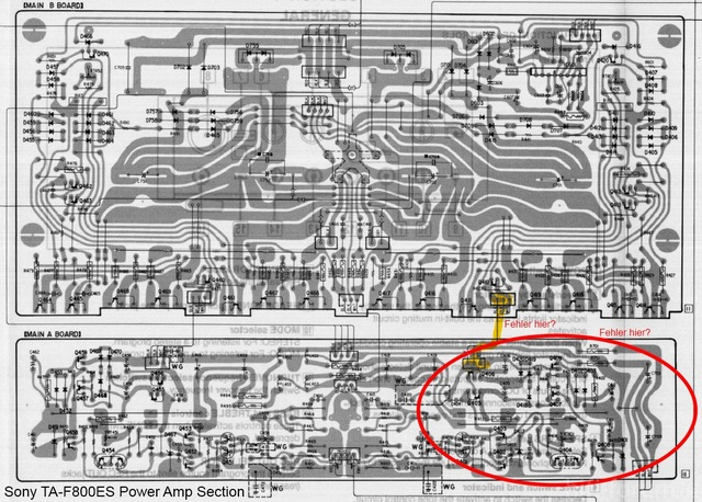 Sony TA-F800ES PCB Layout Detail Power Amp troubleshooting marks