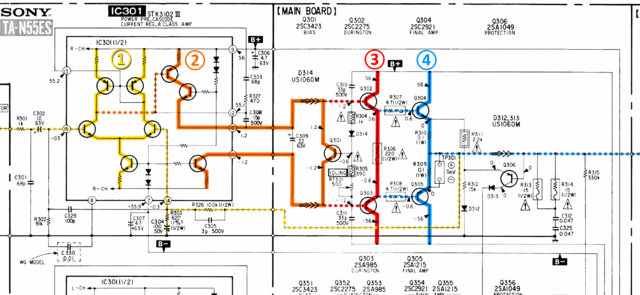 Sony TA N55ES Schematic Detail Left Power Amp Stages Marked
