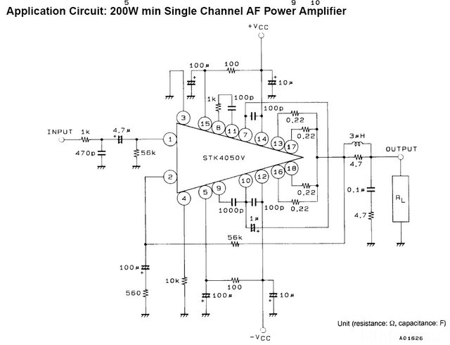 STK4050V Typische Beschaltung Aus Datenblatt