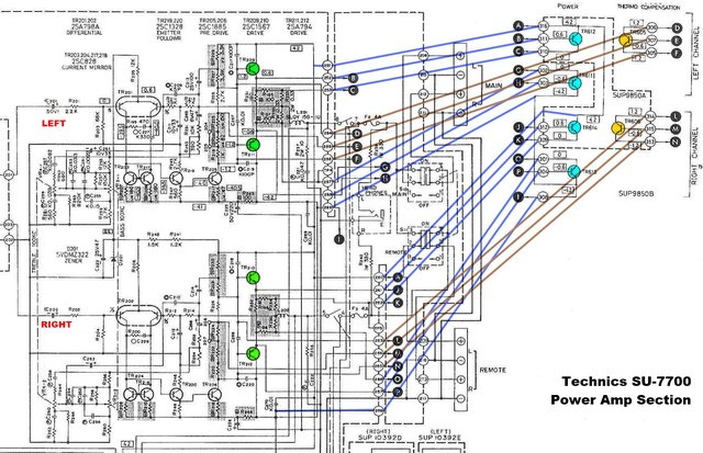 SU-7700 schematic power amp section