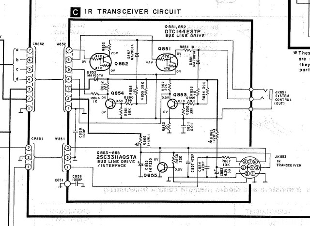 Technics SA E10 Schematic Detail IR Transceiver Circuit Built In