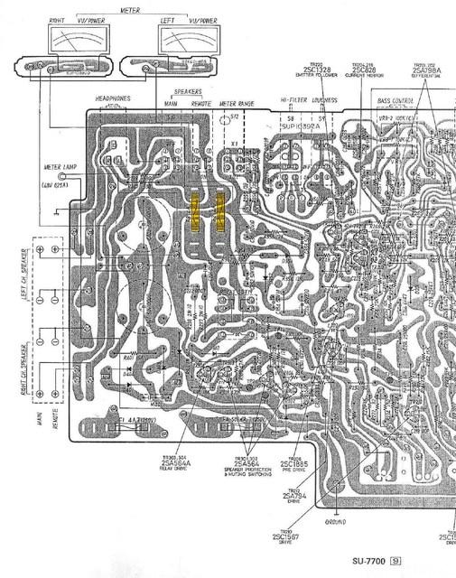 Technics SU 7700 PCB Detail Loudspeaker Fuses Marked