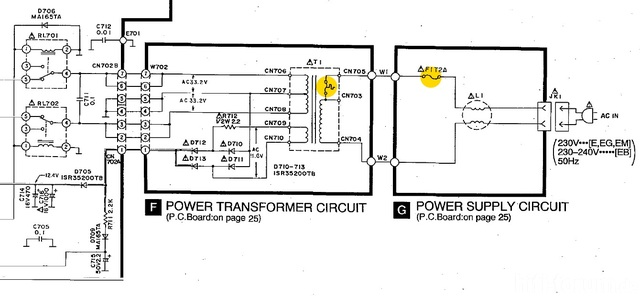 Technics SU A700Mk3 Schematics Detail Power Transformer  Fuses Marked