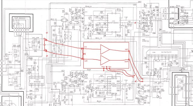 Technics SU-V4A schematic detail replacing power amp section