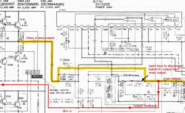 Technics Su V660 Schematic Detail Class A Amp And Disconnected Class B Hybrid IC SVI3205