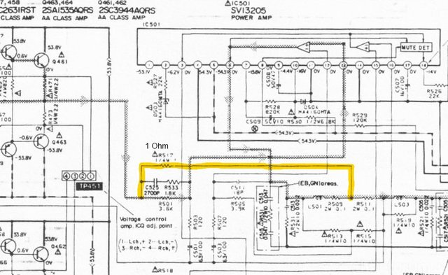 Technics Su V660 Schematic Detail Class A Amp Current Dumping