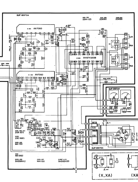 Technics SU-Z2 schematic detail power amp section and power supply