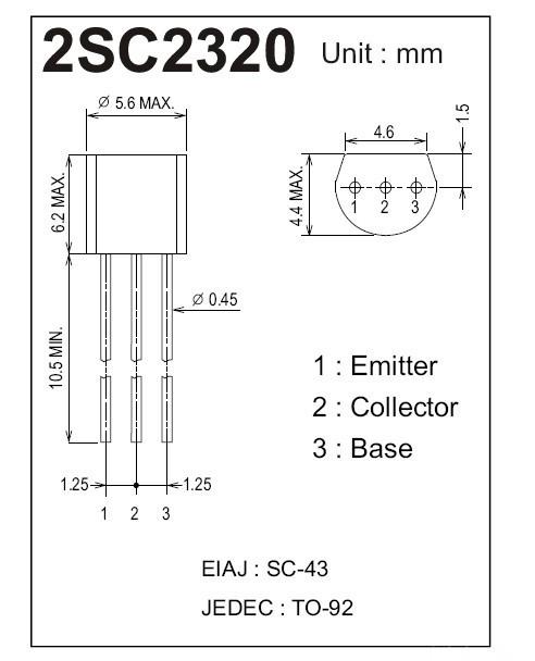 Transistor 2SC2320 Pinout E C B