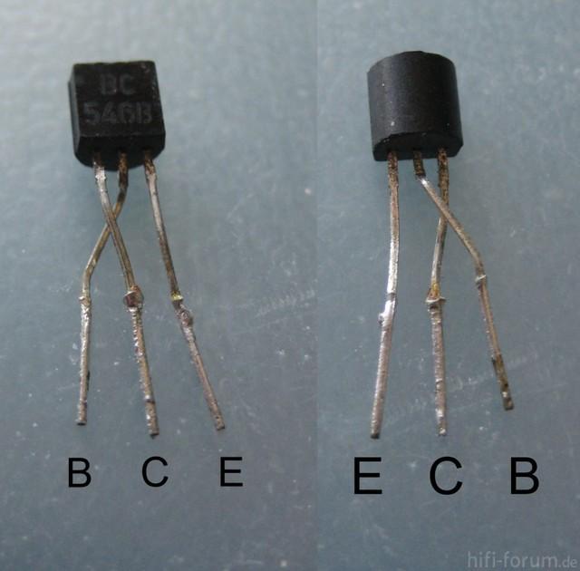 Transistor BC546B Mit Verbogenen Anschlüssen Für Pinfolge E C B