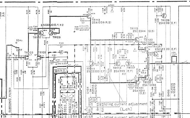 Yamaha A 500 Schematic Detail Power Amplifier Stage Left Channel