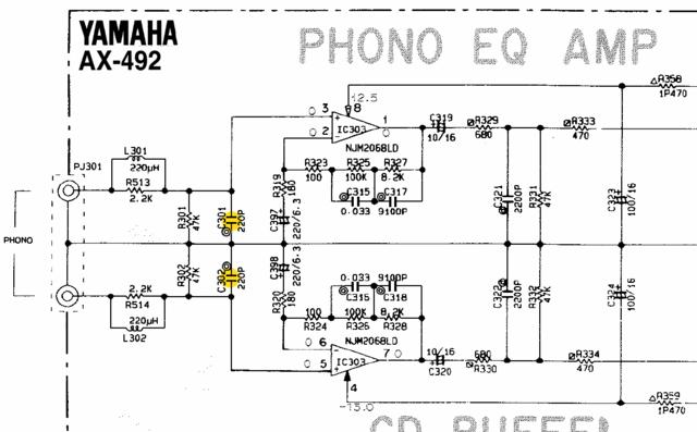 Yamaha AX-492 Schematic Detail Phono Equalizer Amp Input Capacity Marked