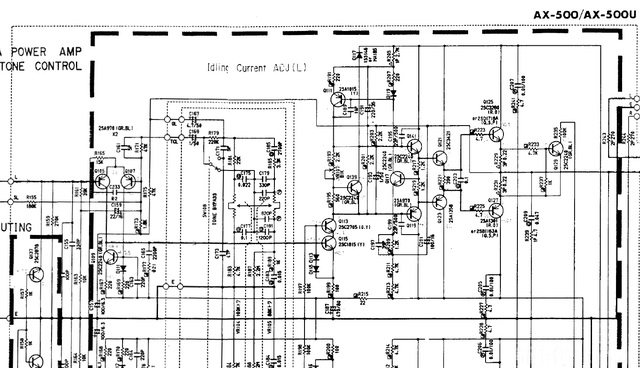 Yamaha AX 500 Schematic Detail Power Amp & Tone Control Section