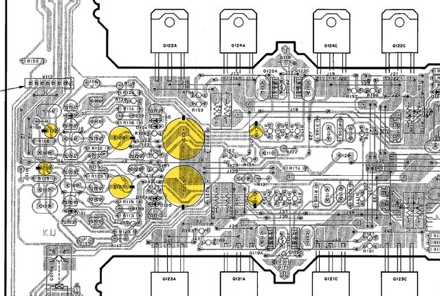 Yamaha AX-892 PCB layout main amp recap