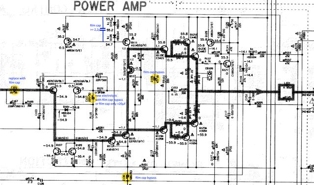 Yamaha AX-892 schematic detail main amp recap