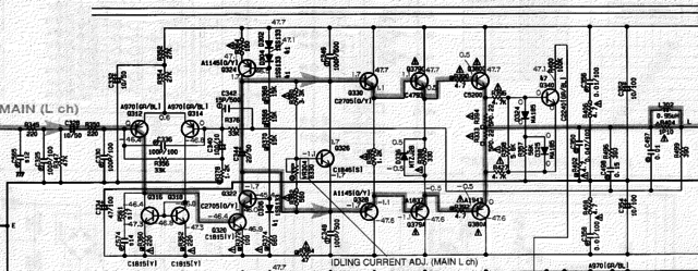 Yamaha DSP-A1 schematic detail left main power amplifier