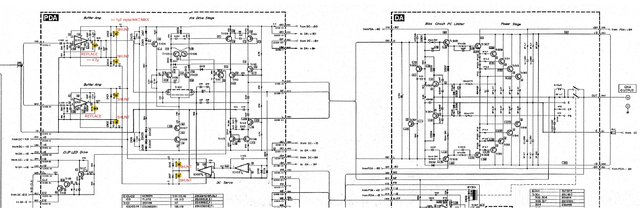 Yamaha PC2002M Power Amp partial Schematic with ReCap recommendations