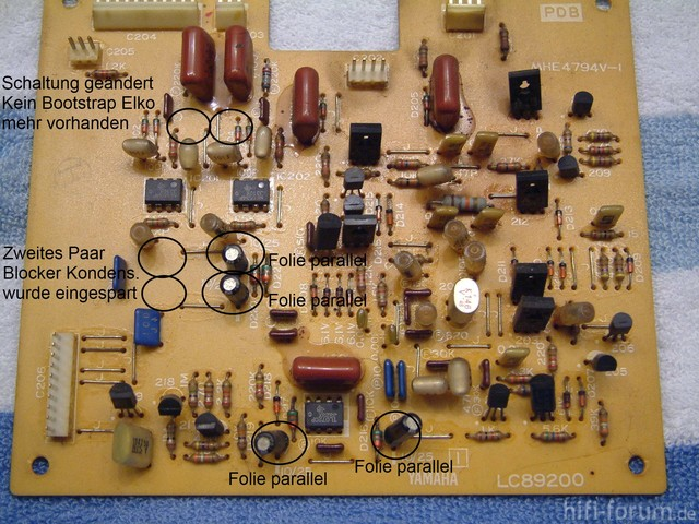 Yamaha PC2002M Power Amp PCB picture _ReCap marked