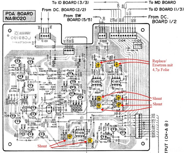 Yamaha PC2002M Power Amp PCB with ReCap recommendations