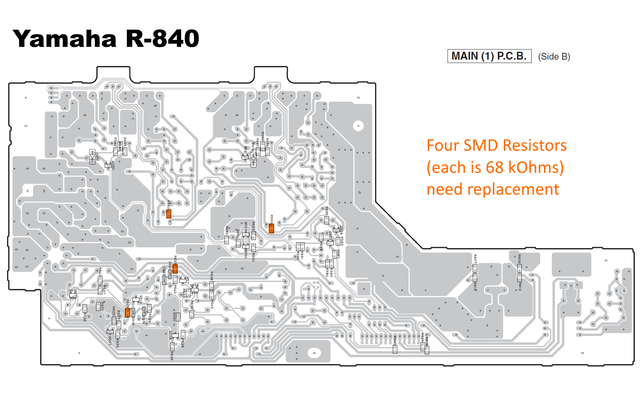 Yamaha R-840 PCB MAIN(1) with defective resistors marked