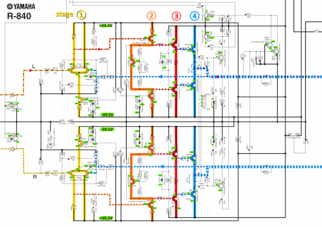 Yamaha R-840 schematic detail left and right power amp stages and voltages marked