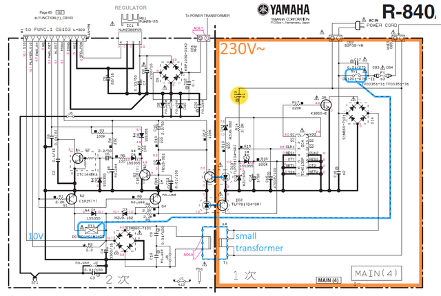 Yamaha R-840 schematic detail standby power supply MAIN(4) PCB