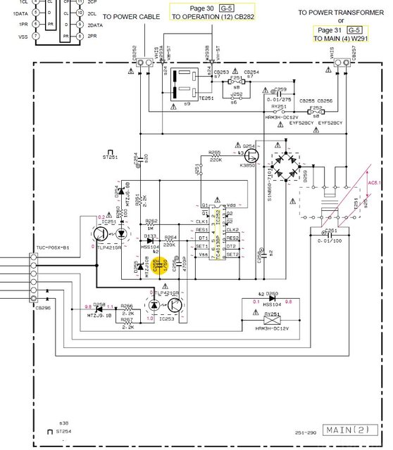 Yamaha RX 497 Schematic Detail Power(2) PCB With Damaged Capacitor