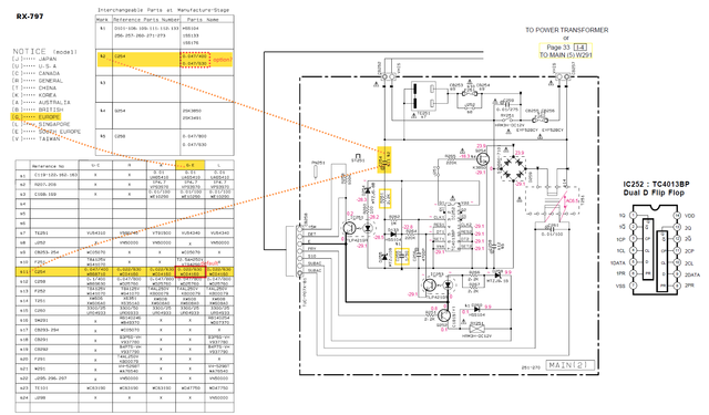 Yamaha RX 797 Schematic Detail Standby Circuit MAIN(2) With Defective Capacitor C254  Marked