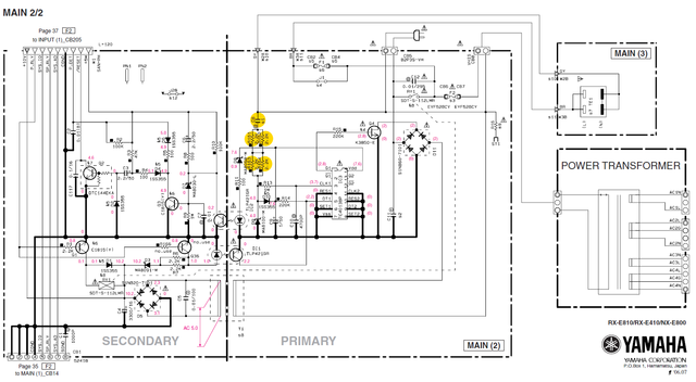 Yamaha RX E810 RX E410 Schematic Detail MAIN(2) Standby Control Circuit