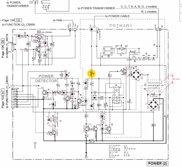 Yamaha RX-V2600 schematic detail POWER(2) standby switching on problem faulty capacitor C4