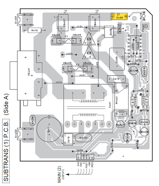 Yamaha RX-V457 RX-V557 PCB layout standby power supply faulty capacitor defect power on