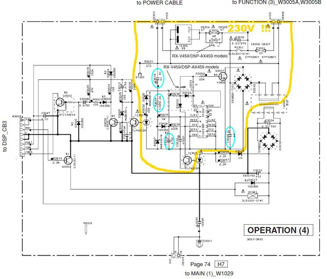 Yamaha RX-V459 schematic detail power operation 4 PCB
