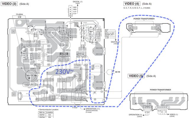 Yamaha RX-V571 PCB layout standby power supply VIDEO 3