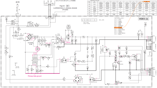 Yamaha RX-V571 schematic detail standby power supply VIDEO 3 PCB