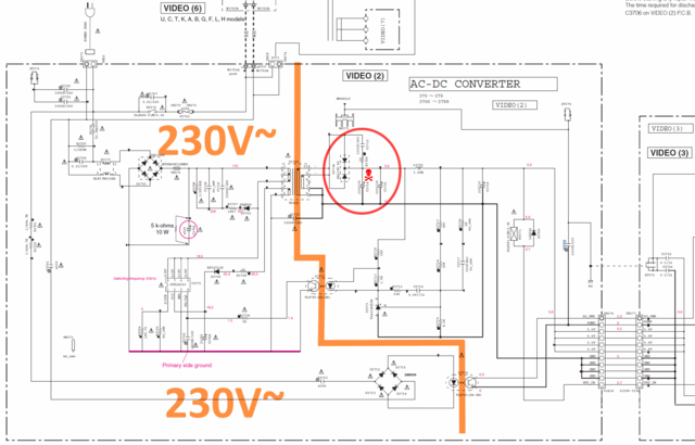 Yamaha RX-V673 schematic detail standby SMPS power supply 5.5V defective capacitor marked