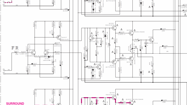 Yamaha RX-V775 Schematic Detail Front Right FR Power Amplifier