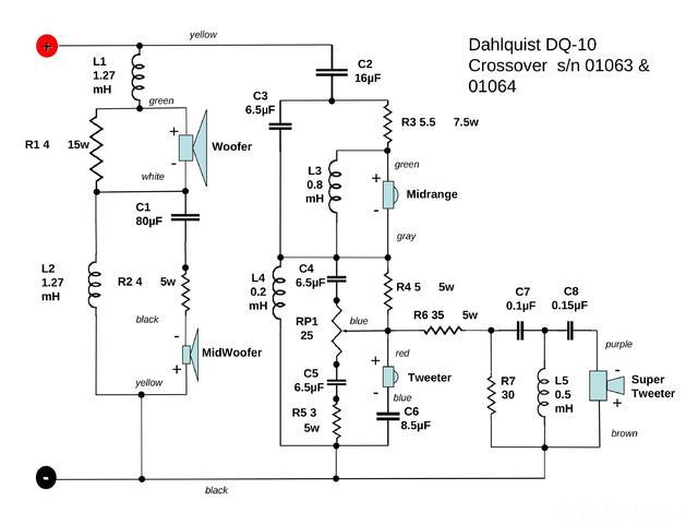 Dahlquist DQ10a - Weiche, Schaltung
