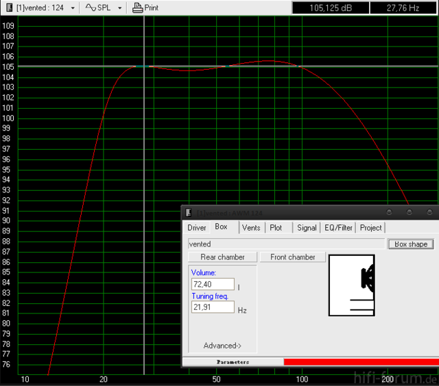 Frequenzgang 72 L - AWM 124 - 22 Hz