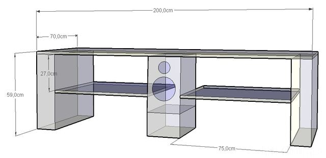 SketchUp Skizze Lowboard