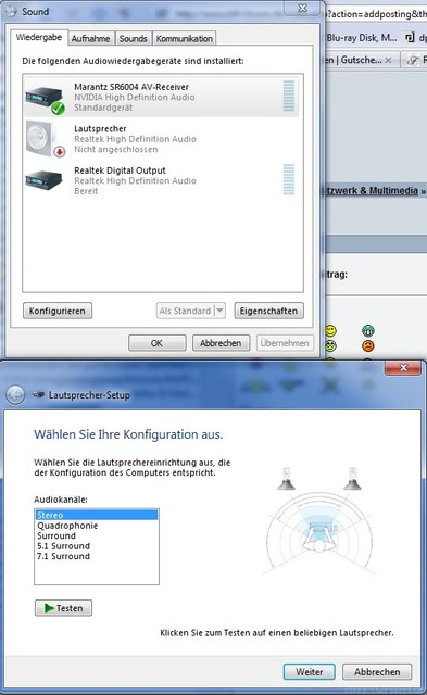 Windows 7 Sound-Einstellungen
